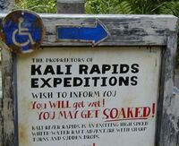 Kali River Rapids warning sign