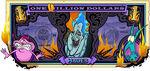 Hades's One Villain dollar bill