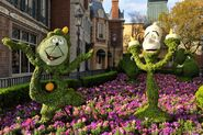 Lumiere and Cogsworth Topiary