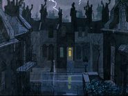 Roger's home on a dark and stormy night