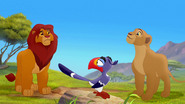 Nala and Zazu look at Simba