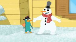 Perry and snowman