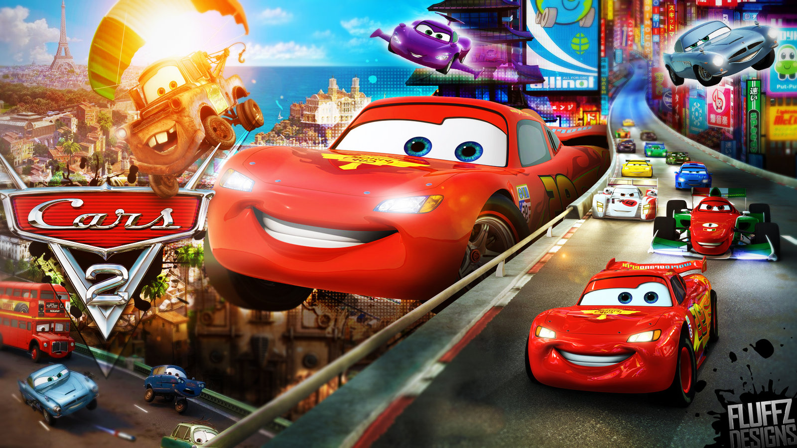 Image disney s cars 2 wallpaper by fluffydesignshd for Disney pixar cars mural wallpaper