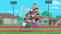 Background characters being a pyramid