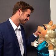 Liam Hemsworth with Miss Piggy