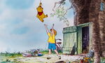 Christopher Robin has to catch Pooh Bear from flying