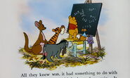 Winnie the Pooh and the others are learning twice times or math