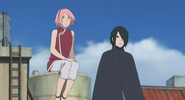 Sasuke and Sakura watching Team Konohamaru