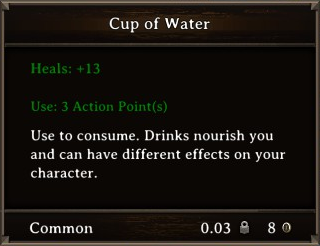 DOS Items Food Cup of Water Stats