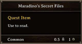 DOS Items Quest Maradino's Secret Files Stats