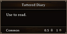 DOS Items Quest Tattered Diary