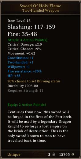DOS Items Unique Sword Of Holy Flame