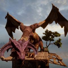 The dragon atop a ruin