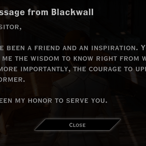 Blackwall's letter to the Inquisitor