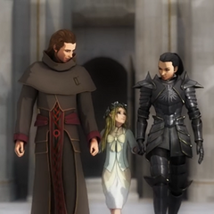 Avexis holds hands with Galyan and Cassandra.
