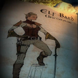 Concept art of an elven bard from Heroes of Dragon Age
