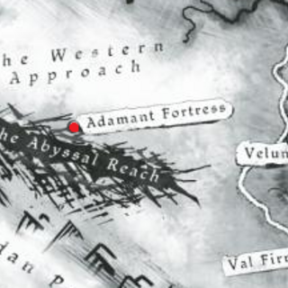 Map showing the location of the Adamant fortress