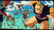 DXRD Caption of Planet Trade Organization Soldiers start their charge at the Z-Fighters (mad Blonde Recoome-esque & Iru-esque)