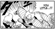 DXRD Caption of King Cold's soldiers (Captain, Mei & the Jeice-like soldier with Arm Cannon) attack Future Trunks after he killed Iru, Dragon Ball manga chapter 331.