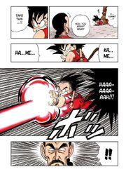 Goku fires a Kamehameha at Tao