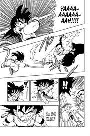 Goku breaks Mercenary Tao sword in half with his Power Pole