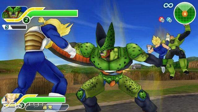 File:DBZ TTT Semi-Perfect Cell takes Future Trunks ASSJ's life,Vegeta SSJ kicks Android 16.jpg