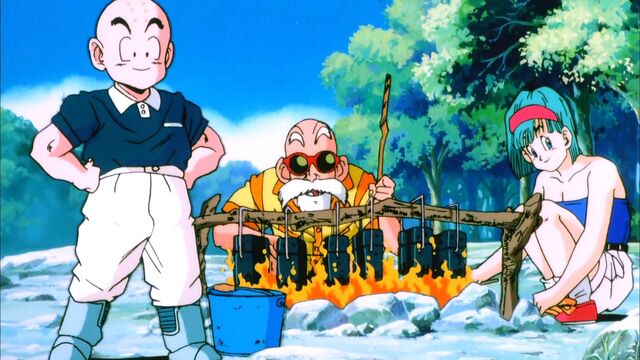 File:Krillin, Bulma, and Roshi Camping (Tree Of Might).jpg