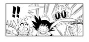 Goku, Krillin and Roshi terrified that Launch is seemingly about to sneeze
