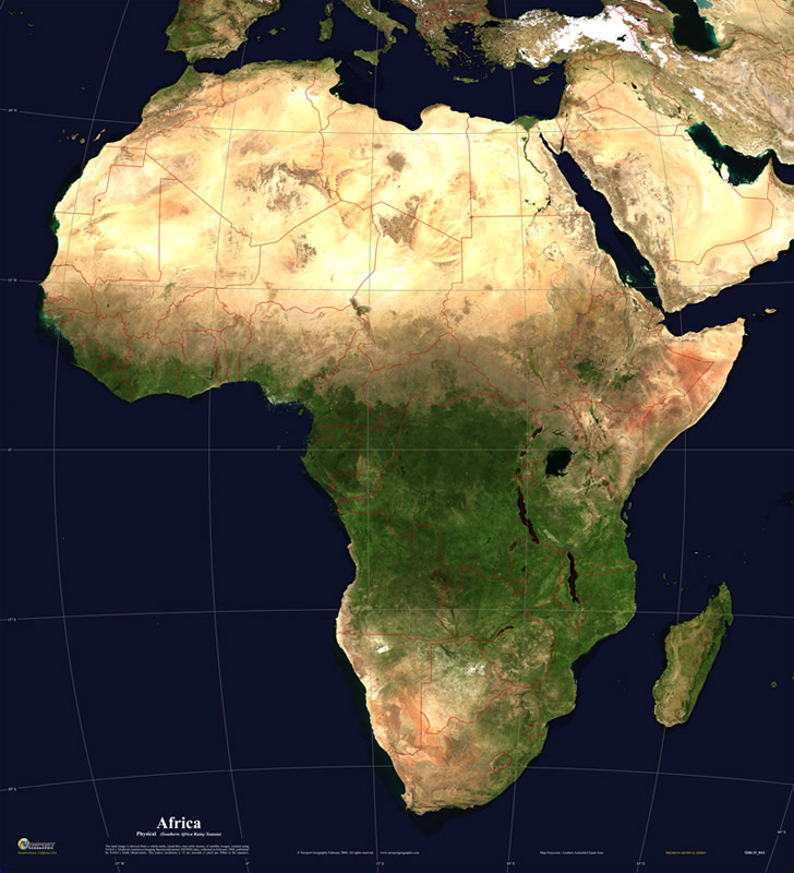 Africa Physical Map 2014 of 2029  January 30  2014