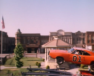 General Lee in midair on Hazzard square