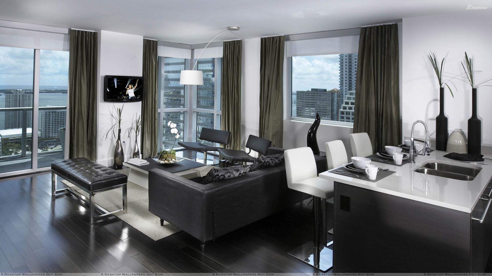 image black and white nice apartment