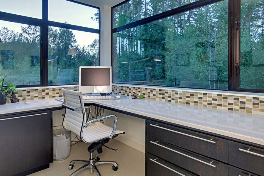 Image - Contemporary-home-office-contains-of-modern-desk-with-grey
