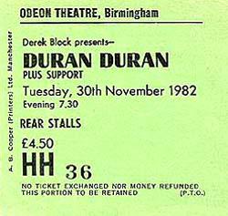 TICKET DURAN DURAN 1982-11-30 ticket2