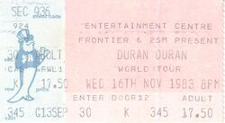 Ticket 16 nov 1983 duran duran Sydney Entertainment Centre, Sydney, Australia