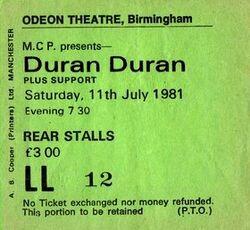 Ticket duran duran birmingham odeon 11 july 1981