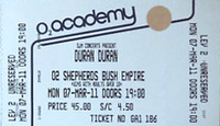 Ticket duran duran shepard's bush empire 7 march 2011