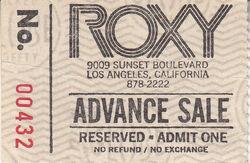 The Roxy, Hollywood, CA (USA) - 2 October 1981 wikipedia duran duran ticket