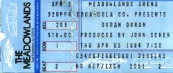 Duran duran ticket 5 april 1984