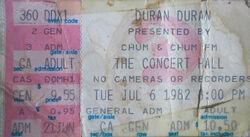 Ticket canada flag wikipedia Toronto ON (Canada) Concert Hall duran duran