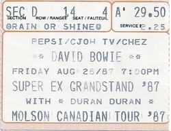Ticket duran duran super ex grandstand 28 August 1987