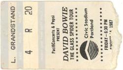 David bowie ticket portland 14 august 1987 A duran duran