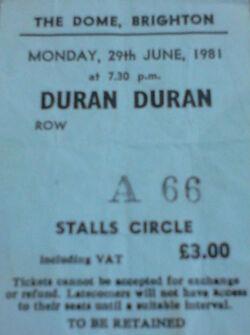 Ticket 2 duran duran wikipedia ticket stub collection brighton dome 1981