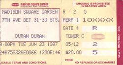 Duran duran concert ticket madison square garden 1987