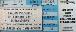 San Diego CA (USA), San Diego State University Open Air Amphitheater 25 march 1989 duran duran wikipedia ticket stubs