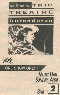 Music Hall, Houston, TX, USA duran duran 2 april 1989 wikipedia advert