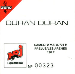 Ticket Duran Duran 2 mai 1987