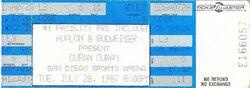 San Diego Sports Arena, San Diego, CA (USA) - 28 July 1987 wikipedia ticket stub duran duran