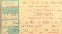Ticket duran duran hollywood march 27 84