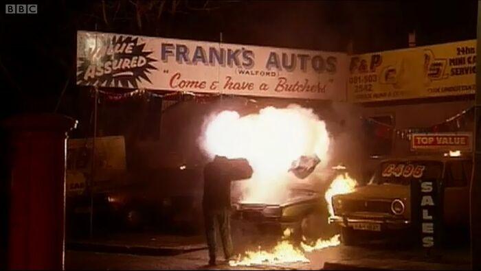 Frank's Autos on Fire