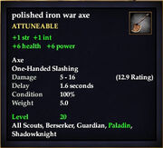 Polished iron war axe